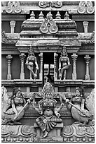Tower detail, Sri Mariamman Temple. George Town, Penang, Malaysia (black and white)