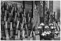 Tablets with names on altar, Kuan Yin Teng temple. George Town, Penang, Malaysia ( black and white)