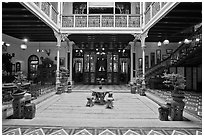 Courtyard of wealthy Baba-Nonya straits mansion. George Town, Penang, Malaysia ( black and white)