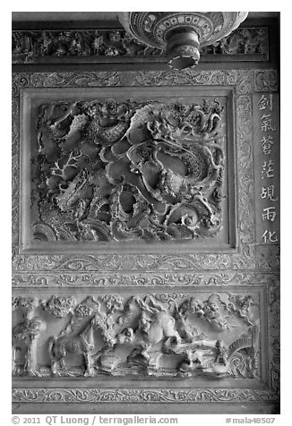 Stone carving detail, Khoo Kongsi. George Town, Penang, Malaysia (black and white)