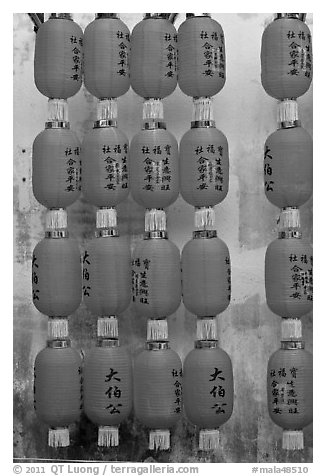 Red lanterns, Hock Tik Cheng Sin Temple. George Town, Penang, Malaysia (black and white)
