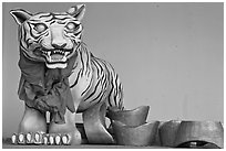 Ceramic Tiger, Hock Tik Cheng Sin Temple. George Town, Penang, Malaysia ( black and white)