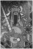 Guardian painting on door, Hock Tik Cheng Sin Temple. George Town, Penang, Malaysia (black and white)
