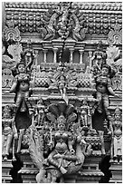 Sculpture on tower of hindu temple. George Town, Penang, Malaysia (black and white)