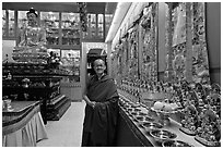 Abbot in Gelugpa Buddhist Association temple. George Town, Penang, Malaysia ( black and white)