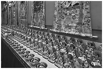 Amulets and Thangkas, Gelugpa Buddhist Association temple. George Town, Penang, Malaysia ( black and white)
