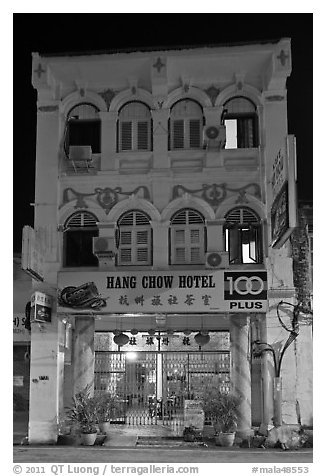 Chinatown hotel at night. George Town, Penang, Malaysia (black and white)