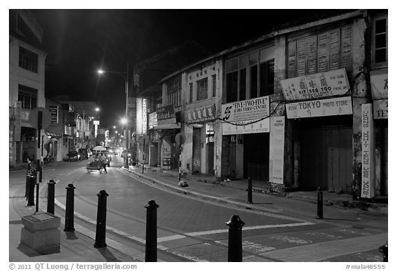 Chinatown street at night. George Town, Penang, Malaysia (black and white)