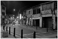 Chinatown street at night. George Town, Penang, Malaysia ( black and white)