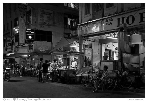Street food stalls at night. George Town, Penang, Malaysia (black and white)