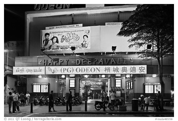 Movie theater showing Bollywood films at night. George Town, Penang, Malaysia