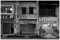 Storehouses at night. George Town, Penang, Malaysia ( black and white)
