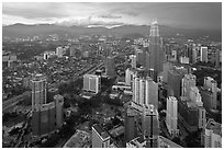 Elevated cityscape view with Petronas Towers. Kuala Lumpur, Malaysia ( black and white)