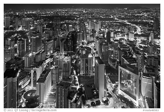 High rise towers seen from above at night. Kuala Lumpur, Malaysia (black and white)