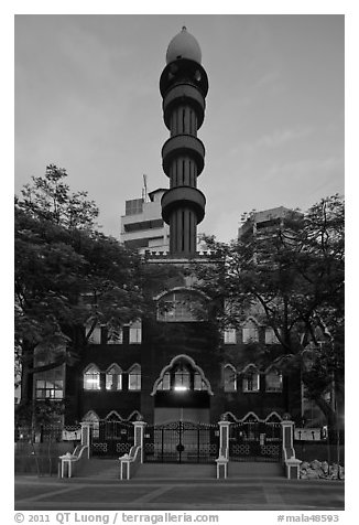 Mosque at dawn, Little India. Kuala Lumpur, Malaysia (black and white)