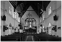 Interior of St Mary Cathedral. Kuala Lumpur, Malaysia (black and white)