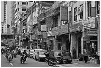 Motorcyles and shops, Little India. Kuala Lumpur, Malaysia ( black and white)