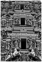 Sculptures on South Indian Hindu temple. Kuala Lumpur, Malaysia (black and white)