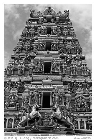 Black And White Picture Photo Deity Clad Gopurum Of Hindu Sri