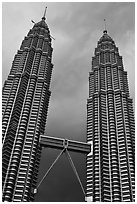 Petronas Towers (tallest twin towers in the world) and stormy sky. Kuala Lumpur, Malaysia ( black and white)