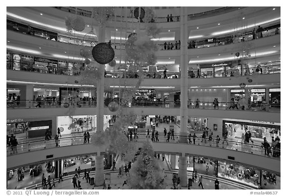 Black And White Picture Photo Shopping Mall With Christmas Decor Suria KLCC Kuala Lumpur Malaysia