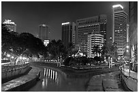 Confluence of Sungai Klang and Sungai Gombak (where the city founders first set foot). Kuala Lumpur, Malaysia (black and white)