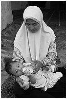 Mother and infant, St Paul Hill. Malacca City, Malaysia ( black and white)