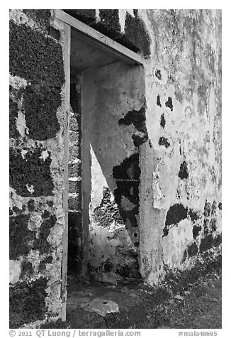 St Paul church walls and gate. Malacca City, Malaysia (black and white)