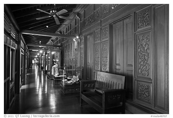 Corridor, sultanate palace. Malacca City, Malaysia (black and white)