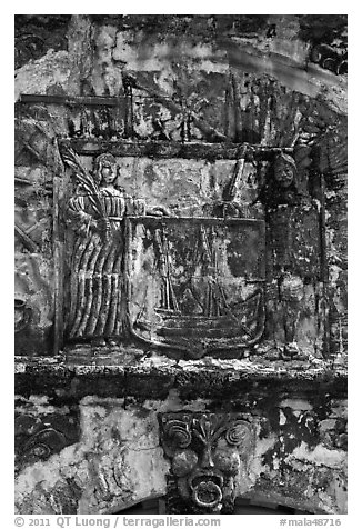 Bas-relief carving on Porta de Santiago. Malacca City, Malaysia (black and white)