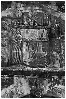Bas-relief carving on Porta de Santiago. Malacca City, Malaysia ( black and white)