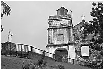 St Francis Xavier statue and St Paul Church. Malacca City, Malaysia ( black and white)