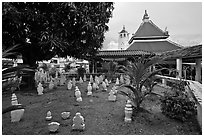 Cemetery and Masjid Kampung Hulu, oldest functioning mosque in Malaysia (1728). Malacca City, Malaysia ( black and white)