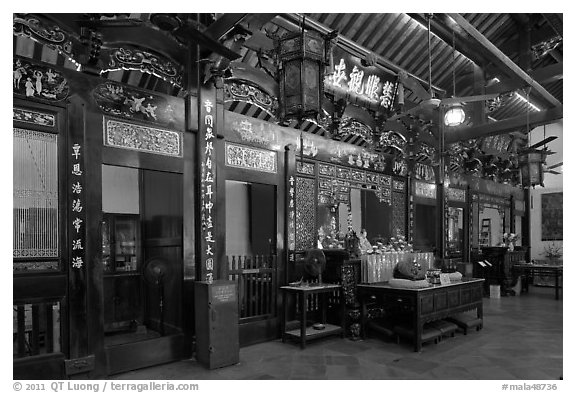 Cheng Hoon Teng, oldest Chinese temple in Malaysia (1646). Malacca City, Malaysia (black and white)