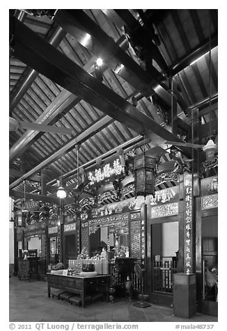 Altar of Guanyin (Goddess of Mercy) inside Cheng Hoon Teng temple. Malacca City, Malaysia (black and white)