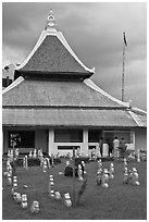 Kampung Kling Mosque with multiered meru roof. Malacca City, Malaysia ( black and white)