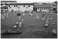 Cemetery of Kampung Kling Mosque. Malacca City, Malaysia (black and white)
