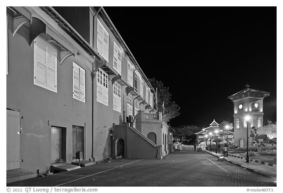 Stadthuys and clock tower at night. Malacca City, Malaysia (black and white)