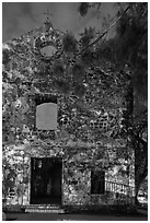 Ruined facade of St Paul Church at night. Malacca City, Malaysia ( black and white)