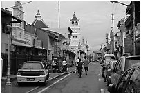 Harmony Street, featuring Hindu and Chinese Temples and a mosque. Malacca City, Malaysia (black and white)