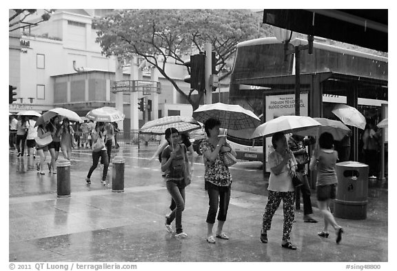 Women cross street of shopping area during shower. Singapore (black and white)