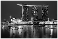 Marina Bay Sands and harbor at night. Singapore (black and white)