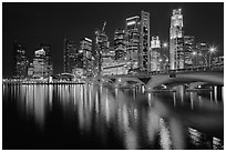 Bridge and Singapore skyline at night. Singapore (black and white)