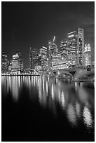Bridge and city skyline at night. Singapore (black and white)