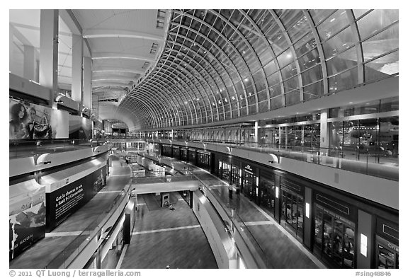 Inside the Shoppes at  Marina Bay Sands. Singapore (black and white)