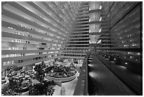 Inside Marina Bay Sands hotel. Singapore (black and white)