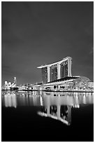 Marina Bay Sands resort at night. Singapore (black and white)