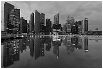 Central Business District (CBD) skyline, twilight. Singapore (black and white)