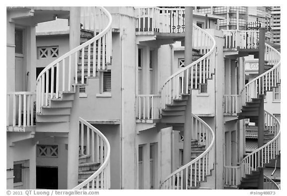 Spiral staircases. Singapore (black and white)