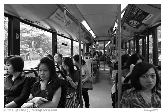Riding a bus. Singapore (black and white)